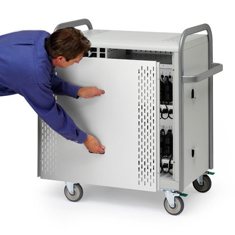Bretford Pulse 30L Laptop Cart with Back Plate
