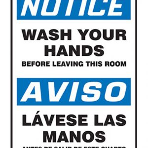 wash hands bilingual sign