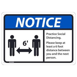 warning sign social distancing